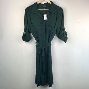 WHBM Safari Shirt Dress in Juniper